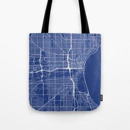 Milwaukee Map, USA - Blue Tote Bag