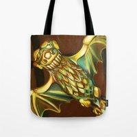 haunted mansion Tote Bags featuring Haunted Mansion Bat Stanchion by ArtisticAtrocities