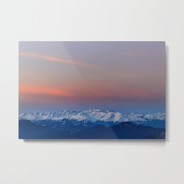 Snowy mountains with magical sky Metal Print
