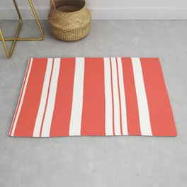 Red white geometrical simple stripes pattern Rug