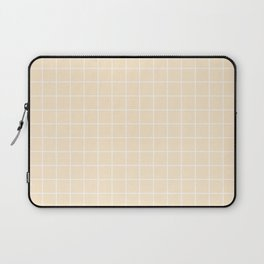Blanched almond - pink color - White Lines Grid Pattern Laptop Sleeve