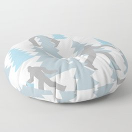 Pastel Blue Grey Winter Forest Yeti sasquatch silhouette  Abominable Snowman BigFoot  Floor Pillow