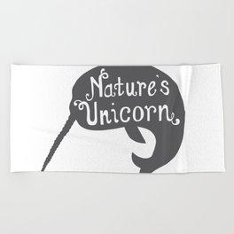 Narwhal Nature's Unicorn Beach Towel