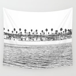 Vintage Newport Beach Print {4 of 4} | Photography Ocean Palm Trees B&W Tropical Summer Sky Wall Tapestry