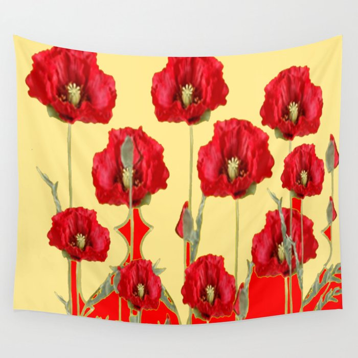 RED POPPIES ON CREAM ART NOUVEAU DESIGN Wall Tapestry by sharlesart ...