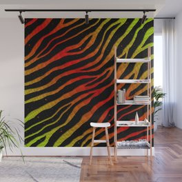 Ripped SpaceTime Stripes - Lime/Red Wall Mural