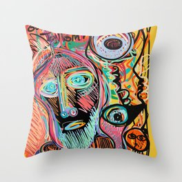 Who is Gonna Drive Tonight Street Art Expressionism  Throw Pillow