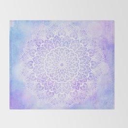 White Mandala on Pastel Blue and Purple Textured Background Throw Blanket