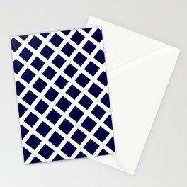 Dark Navy Blue and White Grill Pattern Stationery Cards