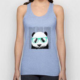Panda with teal glasses Unisex Tank Top