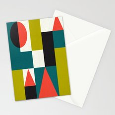 Mid-century block pattern Stationery Cards