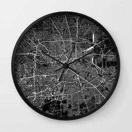 Houston Black Map Wall Clock