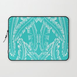 Modern Palm Leaves - Turquoise Blue and White Laptop Sleeve