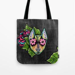 Min Pin Day of the Dead Miniature Doberman Pinscher Sugar Skull Dog Tote Bag
