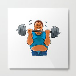 fat overweight man with dumbbell Metal Print