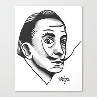 dali Canvas Prints featuring Dali by @VEIGATATTOOER