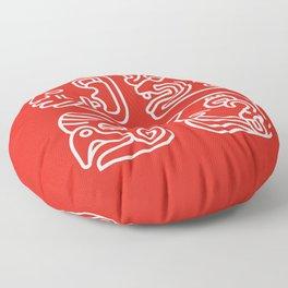 Mayan Glyphs ~ Heads Floor Pillow