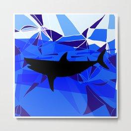 Shark art Geometric art Blue sea ocean art Triangles art Metal Print