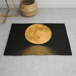 Yellow Moon at night Rug