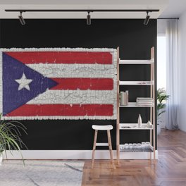 Puerto Rican flag with distressed textures Wall Mural