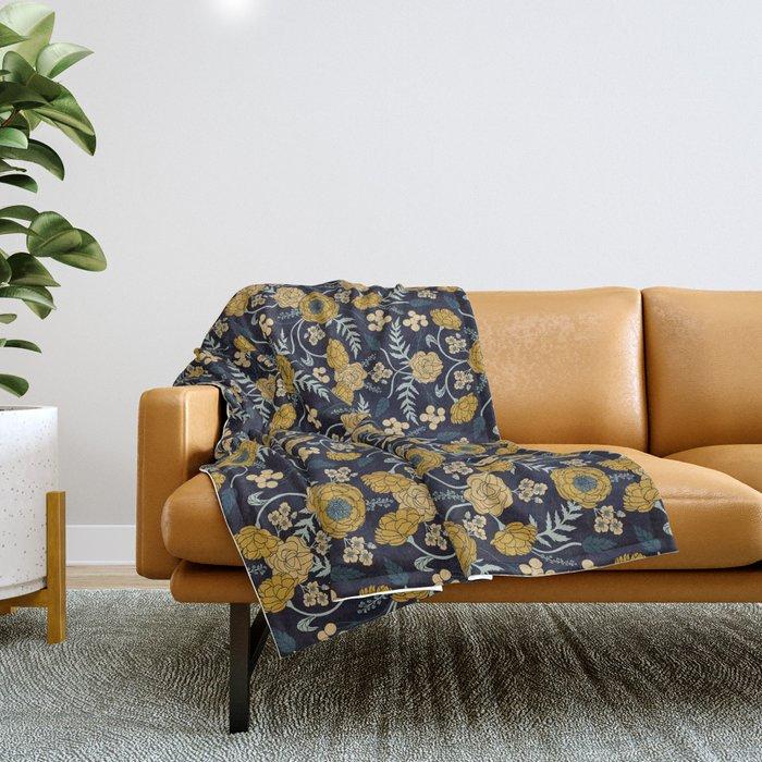 Navy Blue, Turquoise, Cream & Mustard Yellow Dark Floral Pattern Throw Blanket