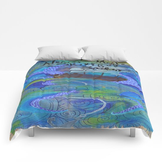 Rough Waters (Blue/Green) Comforters