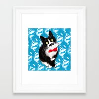muppet Framed Art Prints featuring Muppet the Moustached Cat by EggsBFF