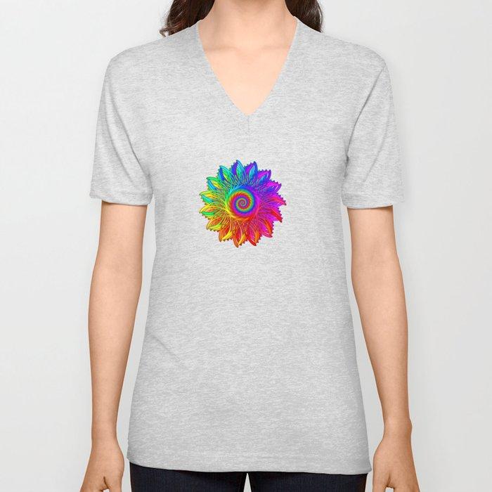 Psychedelic Rainbow Spiral Fractal Unisex V-Neck