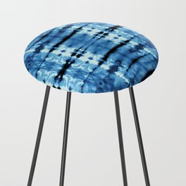 Indigo Satin Shibori Counter Stool