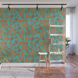Orange Goldfish on Teal Wall Mural