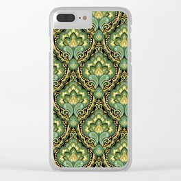 Golden Paisley Damask Clear iPhone Case