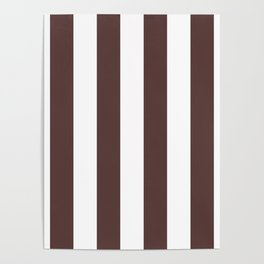 Dark Brown Granite and White Wide Vertical Cabana Tent Stripe Poster
