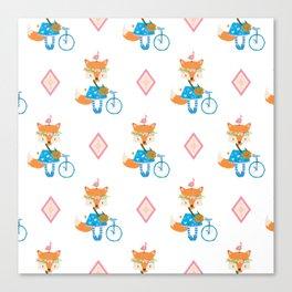 Girl Fox with Pink Diamond Canvas Print