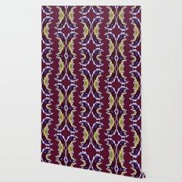 Yellow Burgundy Ornament Baroque Damask Pattern Wallpaper