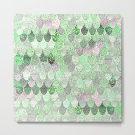 SUMMER MERMAID - GREEN & PINK Metal Print