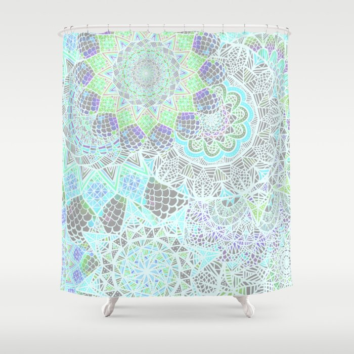 Spring Explosion Bright Green And Blue Mandala Pattern Shower Curtain