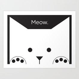 "Peek-a-Boo Kitty, ""Meow"", Black and White Art Print"
