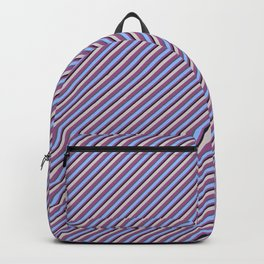 Light Lilac Blue Inclined Stripes Backpack