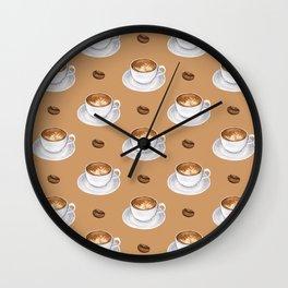 Coffee Cups - tan Wall Clock
