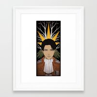 shingeki no kyojin Framed Art Prints featuring Shingeki no Kyojin - Levi card by kamikaze43v3r