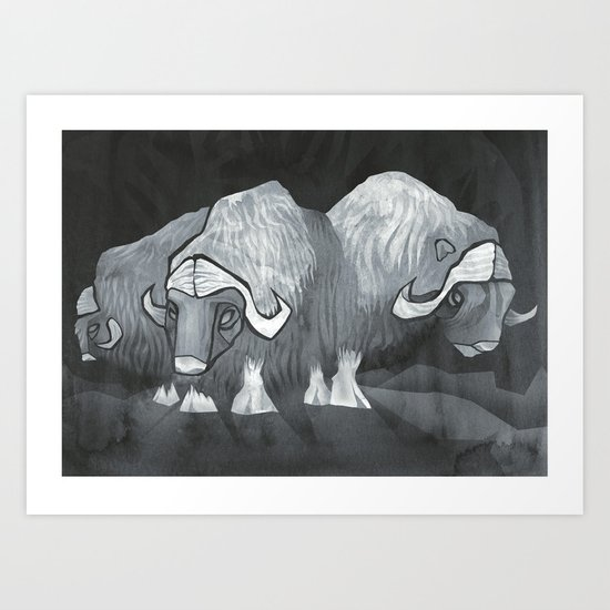 Muskoxen (third shift) Art Print