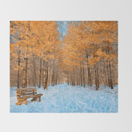 Burning Ice Forest Trail Throw Blanket