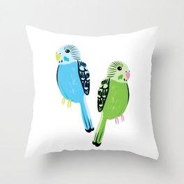 Pretty Parakeets Throw Pillow