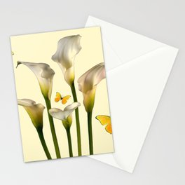 Ivory Calla Lilies Yellow Butterflies Stationery Cards