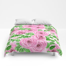 Pink watercolor roses with leaves and buds pattern Comforters