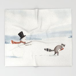 Snowman and Raccoon Throw Blanket