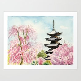 Japanese Temple Watercolor Painting print by Suisai Genki , To-ji, Kyoto , Sakura , Cherry blossom Art Print