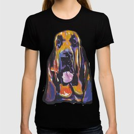 Fun BLOODHOUND Dog Portrait bright colorful Pop Art Painting by LEA T-shirt
