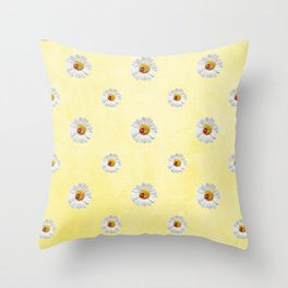 Daisies in love- Yellow Daisy Flower Floral pattern with Ladybug Throw Pillow