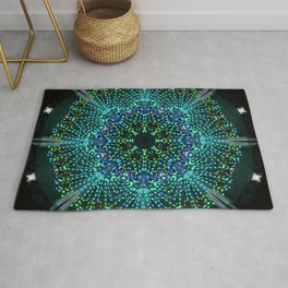 Kaleidoscope fantasy on lighted peacock shape Rug